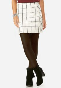 Windowpane Mini Skirt