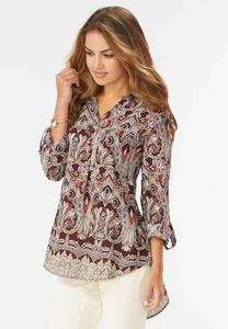 Paisley High- Low Popover Top