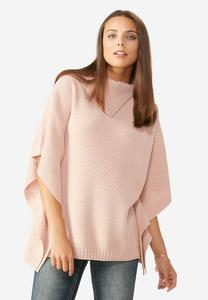 Split Collar Metallic Knit Poncho