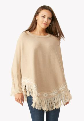 Tribal Trim Fringe Poncho
