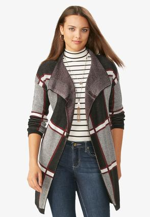 Belted Plaid Draped Cardigan