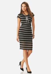 Striped Ruched Side Sheath Dress