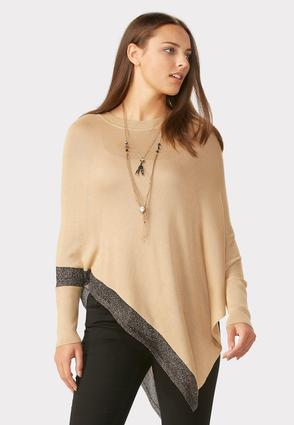 Lurex Trim Asymmetrical Poncho