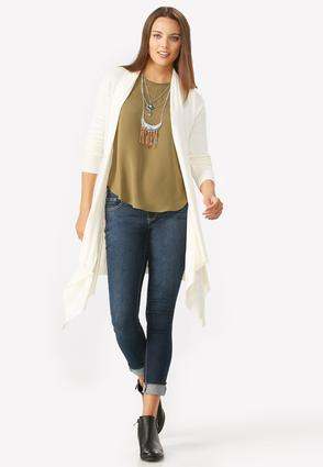 Mixed Knit Waterfall Cardigan- Plus