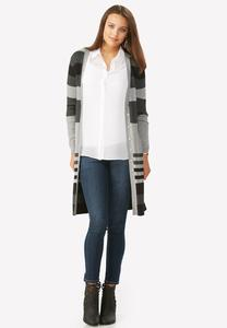 Striped Ribbed Cardigan-Plus