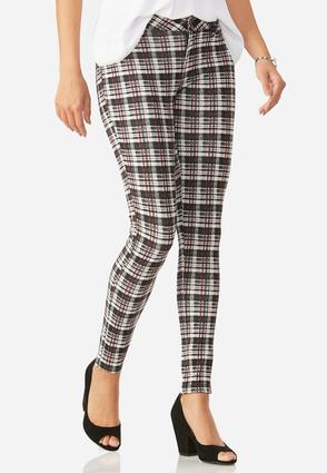 Plaid Ponte Skinny Pants
