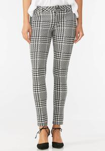 Graphic Plaid Skinny Ponte Pants