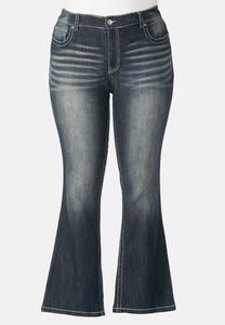 Seamed Metallic Pocket Bootcut Jeans- Plus