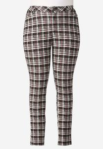 Plaid Ponte Skinny Pants- Plus
