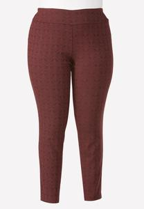 Paisley Lace Pull- On Slim Leg Pants- Plus