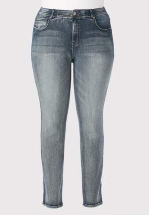 Stretch Waist Straight Leg Jeans- Plus Petite
