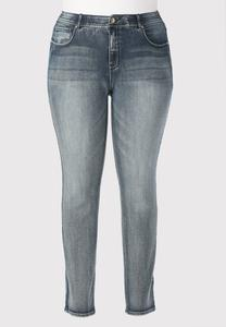 Stretch Waist Straight Leg Jeans-Plus Petite