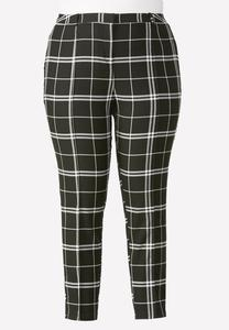 Contrast Plaid Pencil Pants-Plus