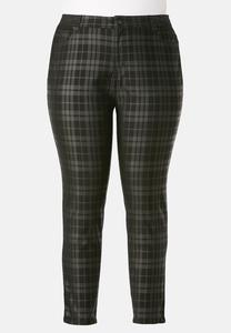 Coated Plaid Skinny Jeans-Plus