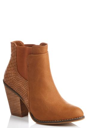 Snakeskin Back Gored Ankle Boots