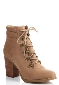 Puff Cuff Lace Up Ankle Boots