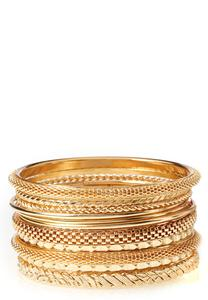 Mixed Textured Metal Bangle Set