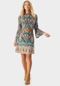 Belted Scroll Print Sweater Dress