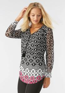 Tassel Neck Border Print Poet Top