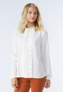 Pleated Lace Trim Mock Neck Top