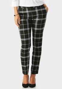Contrast Plaid Pencil Pants
