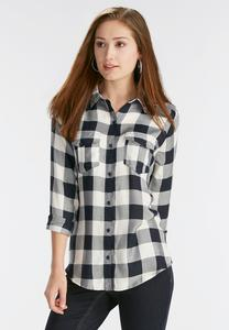 Pleat Pocket Plaid Button Down Shirt- Plus
