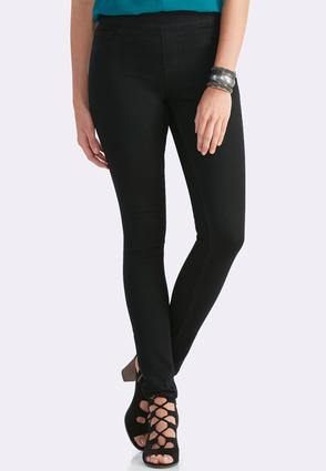 Pull- On Black Wash Jeans