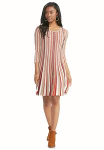 Striped Fit and Flare Sweater Dress-Plus