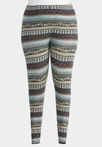 Paisley Striped Leggings-Plus