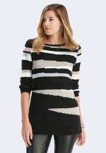 Abstract Striped Tunic Sweater