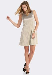 Textured Metallic Swing Dress-Plus