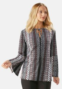 Mixed Stripe Tie Neck Poet Top-Plus