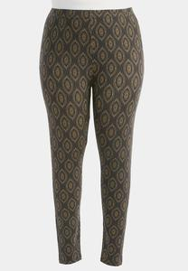 Southwestern Wave Printed Leggings-Plus
