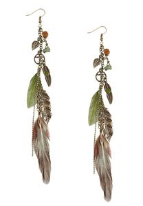 Feather Charm Dangle Earrings