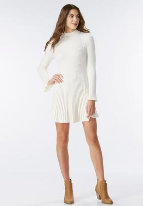 Mock Neck Fit And Flare Sweater Dress