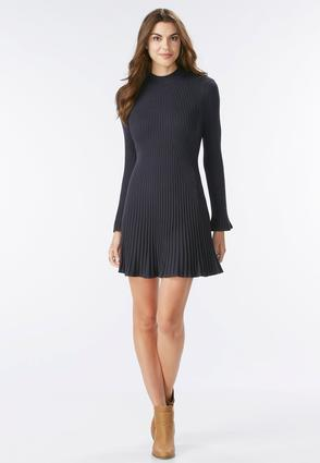 Mock Neck Fit And Flare Sweater Dress- Plus