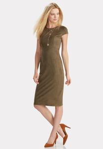 Faux Suede Midi Dress-Plus