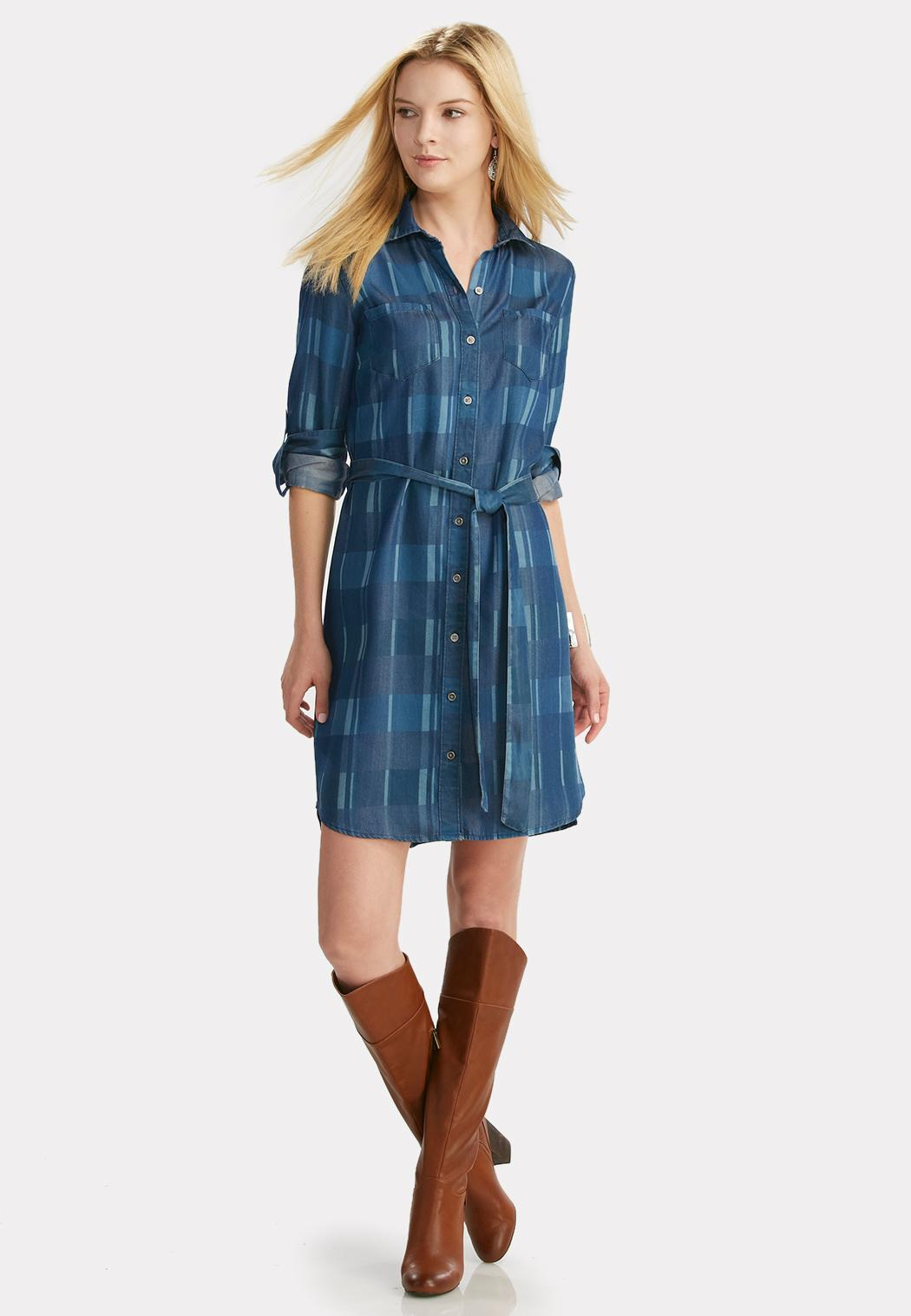 Belted Plaid Chambray Shirt Dress Dresses