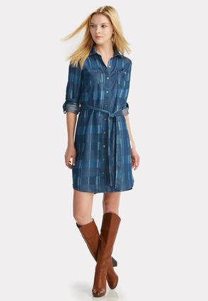 Belted plaid chambray shirt dress plus dresses cato fashions for Belted chambray shirt dress