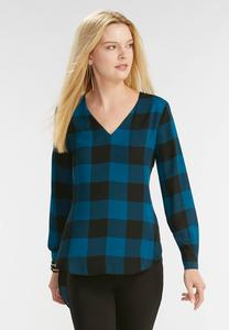 Buffalo Plaid Extreme High-Low Top-Plus