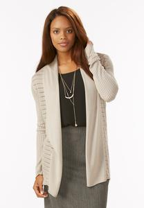 Cinched Back Pointelle Knit Cardigan-Plus