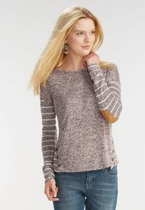 Marled Striped Button Back Top- Plus
