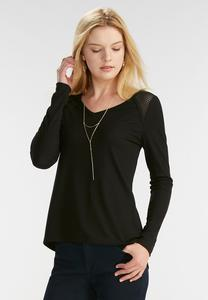 Mesh Inset Ribbed Top-Plus