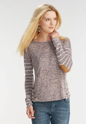 Marled Striped Button Back Top