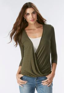 Ribbed Twist Front Top-Plus
