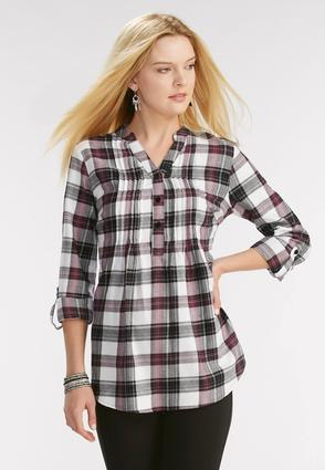 Pleated Plaid Popover Top