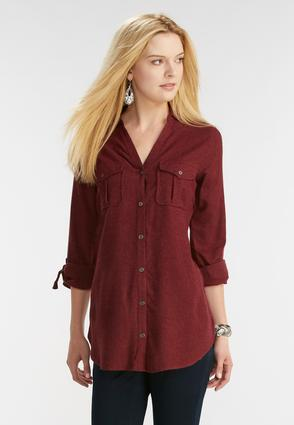 Double Pocket Button Down Shirt- Plus