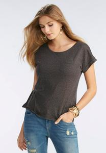 Metallic Scoop Neck Tee- Plus