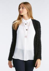 Eyelash Knit Boyfriend Cardigan-Plus