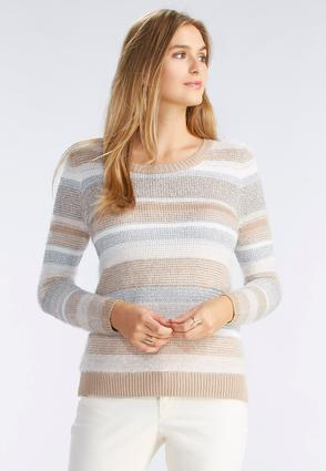 Mixed Knit Striped Sweater